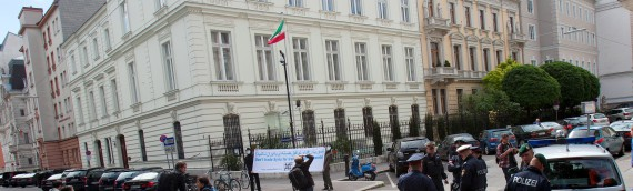 Photos of Naame Shaam's protest at the Iranian embassy in Vienna